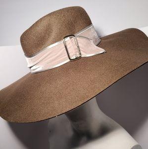 Henri Bendel Buckle Wide Brim Brown Hat